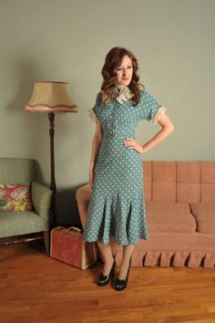 Vintage 1930s ANNETTE Aviation Blue Polka Dot Dress by FabGabs - The dress that started my love of the '30s.