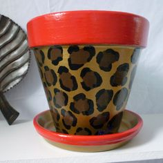Hand Painted Whimsie Flower Pot In Leopard Animal Print - 6-inch pot