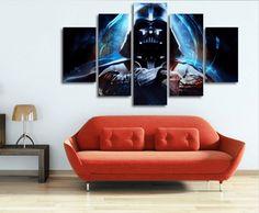 Star Wars 5 Panel Canvas Framed Darth Vader Wall Art