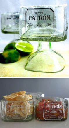 Handmade Patrón Tequilla Bottle Glass! Free Shipping!