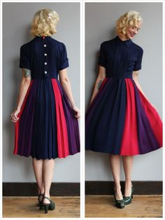 ~1940s Nelly Don Dress ~Colorblock skirt