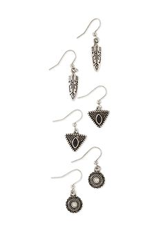 Etched Feather Earring Set | FOREVER21 - 1000135459