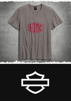 The logo pops on this silky-soft henley. | Harley-Davidson Men's HDMC Henley Tee
