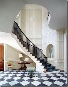Gorgeous stairway by Suzanne Kasler. This is how a grand stairway is done. Floor Design, House Design, Checkered Floors, Entry Hallway, Stairwell Wall, Grand Staircase, Curved Staircase, Staircase Molding, Marble Staircase