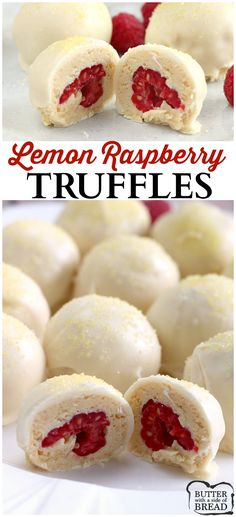 Simple recipe that's just amazing! Easy homemade truffles that use Lemon Oreo cookies. Try them! Easy Lemon Raspberry Truffles from Butter With a Side of Bread