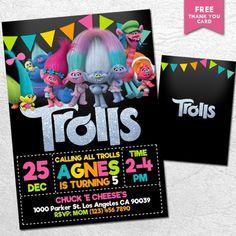 Colorful Trolls Invitation