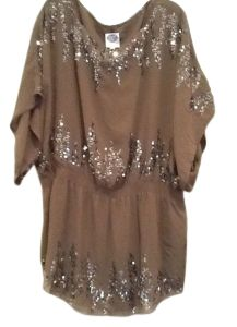 be0b0724081ae DG2 by Diane Gilman Olive Xl Chiffon Sequined Gathered Waist Tunic Size 16  (XL