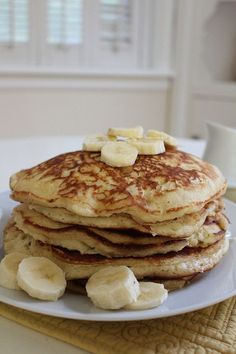 Saturday mornings call for fluffy pancakes......    Ingredients:2 small mashed bananas plus 1 extra for slicing on top2 cups buttermilk (if you don't have buttermilk, regular milk works just fine)2 eg