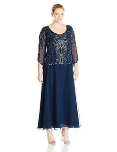 J Kara Womens Plus Size ScoopNeck Long Dress NavyMercury 20W >>> Click image for more details. (Note:Amazon affiliate link)