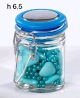 Glass Candy Jar with Blue Lid