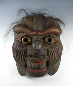 Antique Japanese Bugaku Genjoraku Mask.