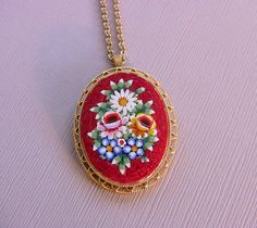 Vintage Micro Mosaic Glass Italian Floral