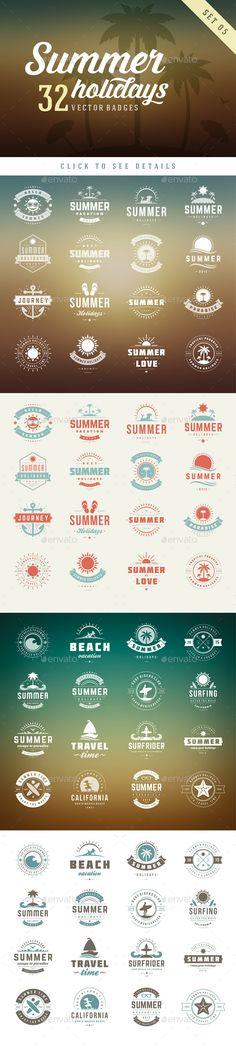 Summer Holidays Badges #design Download: http://graphicriver.net/item/summer-holidays-badges/12111349?ref=ksioks