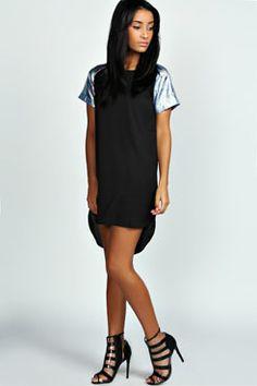 Chelsea Metallic Sleeve Dip Hem Shift Dress at boohoo.com