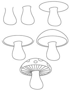 Learn To Draw Learn how to draw a mushroom with simple step by step instructions Doodle Drawings, Easy Drawings, Doodle Art, Drawing Sketches, Sketching, Drawing Lessons, Art Lessons, Drawing For Kids, Art For Kids