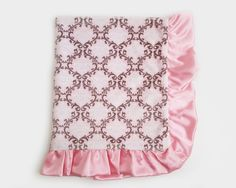 Minky Adult Blankets – The Sugar Plum – Ruffled Blankets – Pink and White