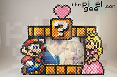 Mario and Princess Peach perler bead picture frame by Pixel Geex