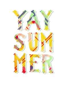 "YAY SUMMER Print: 11""x14"" Wall Art Hand-Lettered Typography Poster."