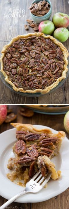 Apple Pecan Pie - Apple Pie and Pecan Pie all in one dessert recipe!- put it in a gluten free crust and HEAVEN! Apple Recipes, Fall Recipes, Sweet Recipes, Holiday Recipes, Just Desserts, Delicious Desserts, Yummy Food, Pie Dessert, Dessert Recipes