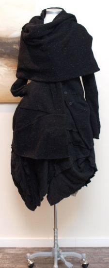 rundholz - Mantel U-Ausschnitt Tweed schwarz - Winter 2013