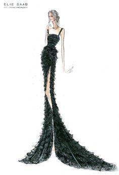sketch croqui elie saab green black dress