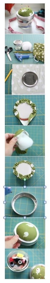 """MASON JAR SEWING KIT. Clean mason jar; Any fabric; Glue Gun; Stuffing; Pencil; Scissors. Draw & cut out a circle 1"""" bigger than jar top. Glue to lid, bunching as you go. Stuff in batting till poofy and smooth; seal up last section. Glue cushion to outer lid & let dry. Fill jar with sewing essentials. Screw top on jar.   http://www.momtastic.com/diy/168161-diy-mason-jar-sewing-kit"""