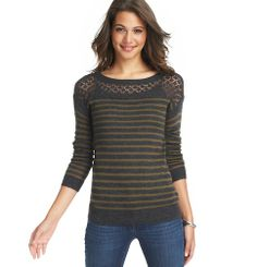Striped Pointelle Yoke Sweater | Loft