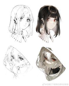Digital Painting Tutorials, Digital Art Tutorial, Art Tutorials, Drawing Reference Poses, Drawing Poses, Art Drawings Sketches, Cool Drawings, Anime Art Girl, Manga Art