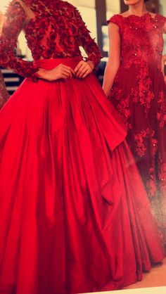 Red cocktail dresses 3d flowers embroidery , cocktail night looks ! Shop cocktail gowns and Indian bridal wear at ranaslegacy jaipur Rajasthan