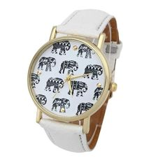 2017 New Arrival Girl Elephant Pattern Faux Leather Band Analog Quartz Dial Watch relogio feminino