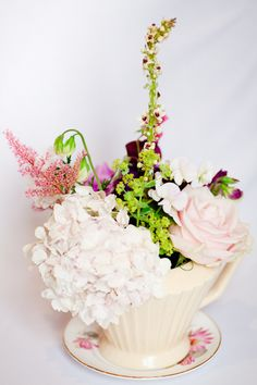 Beautiful Florals in Vintage Teapots captured by Katie Farrell | onefabday.com