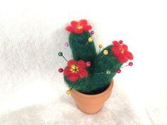 Pincushion Cactus wool pin cushion green sewing red by Felt4Soul
