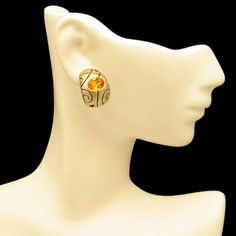 Topaz Glass Curved Gold Plated Vintage Post Earrings Engraved Unique Design #MyClassicJewelry