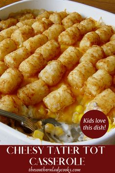 CHEESY TATER TOT CASSEROLE - The Southern Lady Cooks Hamburger Tator Tot Casserole, Cheesy Tater Tots, Ground Beef Casserole, Easy Weeknight Meals, Easy Dinners, Beef Dishes, Potato Dishes, Cooking Recipes, Favorite Recipes