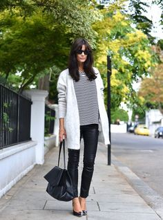 mod swing coat + boxy top + skinnies + heels