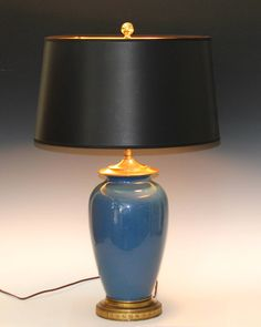 Large Vintage Bretby English British Blue Art Pottery Vase Lamp | From a unique collection of antique and modern table lamps at https://www.1stdibs.com/furniture/lighting/table-lamps/
