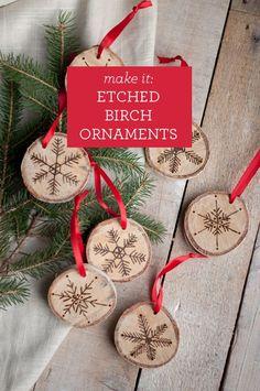 DIY: etched birch ornaments