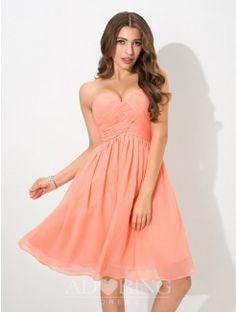 A-Line Sweetheart Sleeveless Pleats Knee-Length Chiffon Bridesmaid Dress