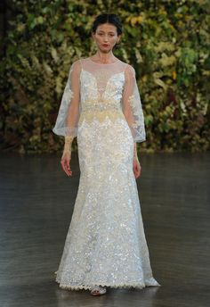 Sheer Sleeve Wedding Dress | Claire Pettibone Wedding Dresses Fall 2015 | Kurt Wilberding | blog.theknot.com