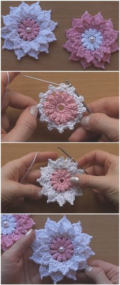 Crochet Designs Crochet Very Easy Flowers - Learn to crochet a very easy flowers. We are glad to share with you step by step instructions without missing details. These flower are gorgeous, wonderful and creative. Crochet Motifs, Crochet Yarn, Easy Crochet, Free Crochet, Crochet Flower Tutorial, Crochet Flowers, Crochet For Beginners, Crochet For Kids, Christmas Applique