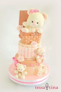 Bears, Basket and Bicycle - by tessatinacakes @ CakesDecor.com - cake decorating website