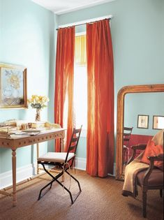 I'm not usually a fan of orange, but I like it paired with the softer blue & touches of gold