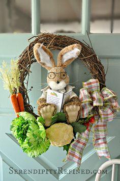 Serendipity Refined Blog: Easy DIY Peter Rabbit Spring Wreath Door Decoration