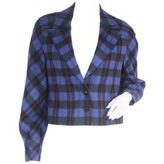 Pre-owned 1980's Christian Dior Jacket ($375) ❤ liked on Polyvore featuring outerwear, jackets, cropped jackets, plaid jacket, vintage 80s jacket, christian dior jacket, 1980s leather jacket and blue plaid jacket