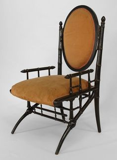 American Victorian ebonized and gilt trimmed arm chair with faux bamboo design and peach velvet upholstery. Beautiful Furniture, Chair, American Furniture, Armchair, Spring Furniture, Faux Bamboo, Vintage Furniture, Victorian Furniture, Velvet Armchair