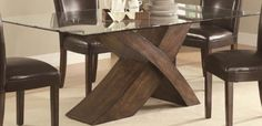 """Dining Table with Glass Top """"X"""" Base Design in Deep Brown Finish Coaster Home Furnishings http://www.amazon.com/dp/B007AU7BFA/ref=cm_sw_r_pi_dp_sUELub1PAETNZ"""