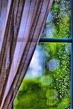 "rainy day…nothing to do but watch the raindrops on the window to see which one ""wins"