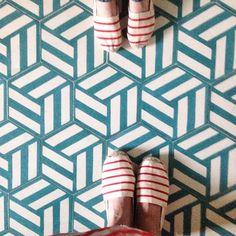 Getting ready for summer with popham design Hex Knot #summer #stripes #espadrilles #handmade #tiles #cementtile #ihavethisthingwithfloors