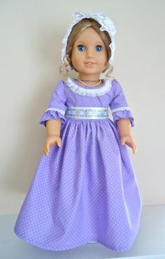 RESERVED FOR VAN: American Girl Doll Clothes, Felicity, Williamsburg Tulips Colonial Gown and Mob Cap. $30.00, via Etsy.