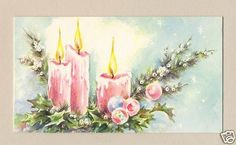 Vintage  Christmas Card, Pink Candles & Ornaments
